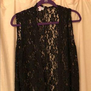 Black lace Lularoe Joy Vest HTF
